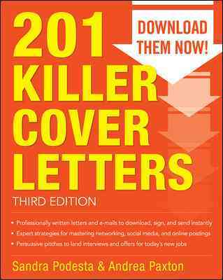 201 Killer Cover Letters By Podesta, Sandra/ Paxton, Andrea